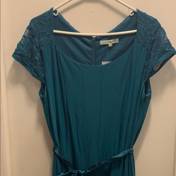 Teal panel dress with ribbon belt and lace sleeves